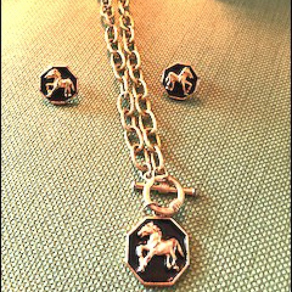 Gold & Black Horse Necklace and Post Earrings